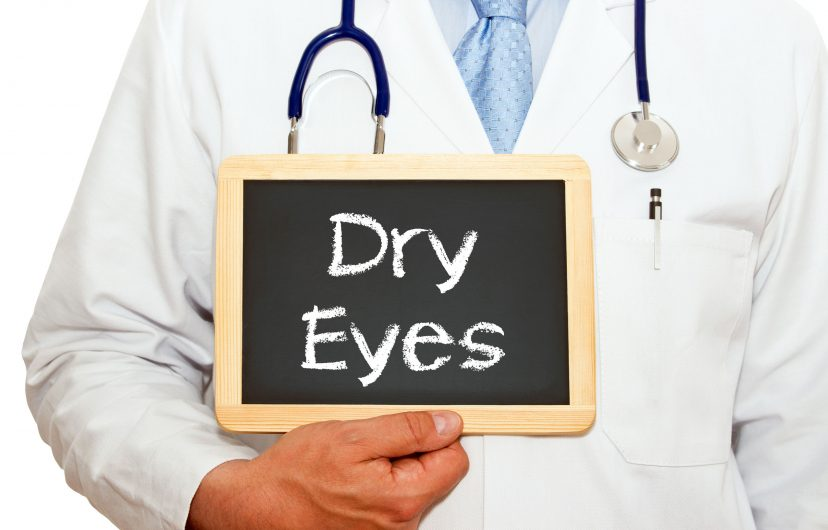 doctor with dry eyes chalkboard