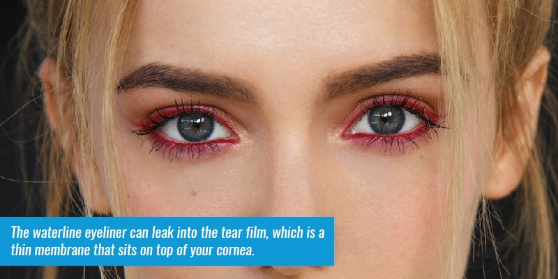that waterline eyeliner can leak into the tear film, which is a thin membrane that sits on top of your cornea.