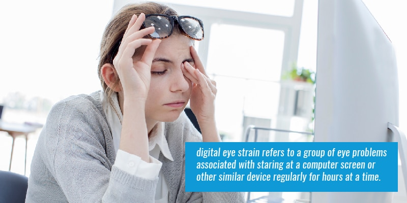 digital eye strain refers to a group of eye problems associated with staring at a computer screen or other similar device regularly for hours at a time.