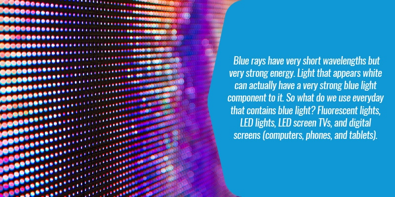 blue rays have very short wavelengths but very strong energy. Light that appears white can actually have a very strong blue light component to it. So what do we use everyday that contains blue light? Fluorescent lights, LED lights, LED screen TVs, and digital screens (computers, phones, and tablets).
